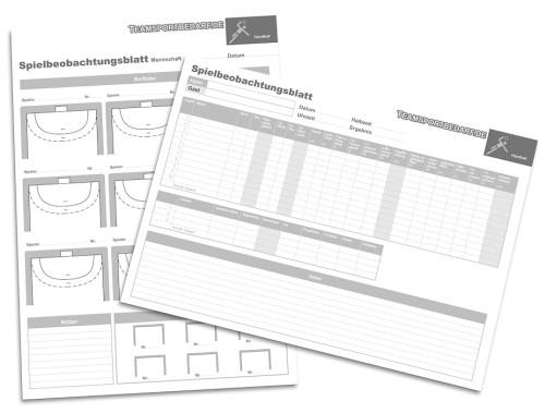 Handball Spielbeobachtungsblätter